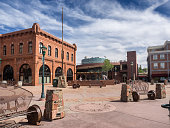 Flagstaff main square with pueblo house