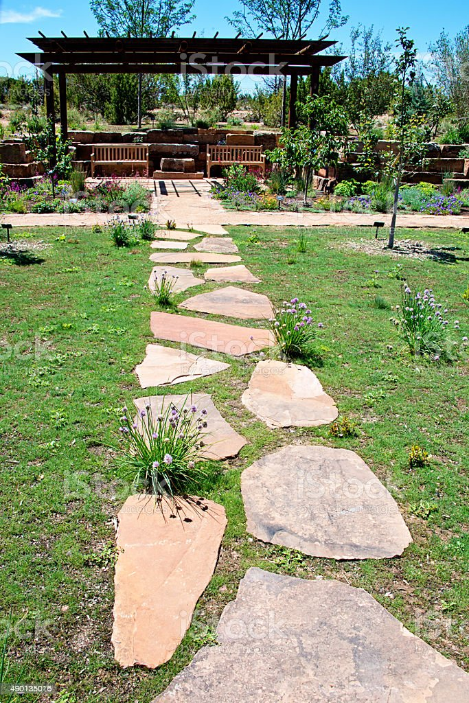 Flagstone Foothpath in Public Park stock photo