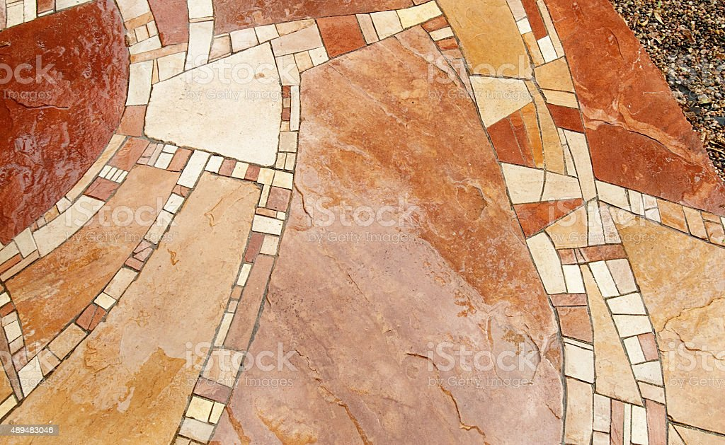Flagstone Patio Pavestone Walkway Closeup stock photo