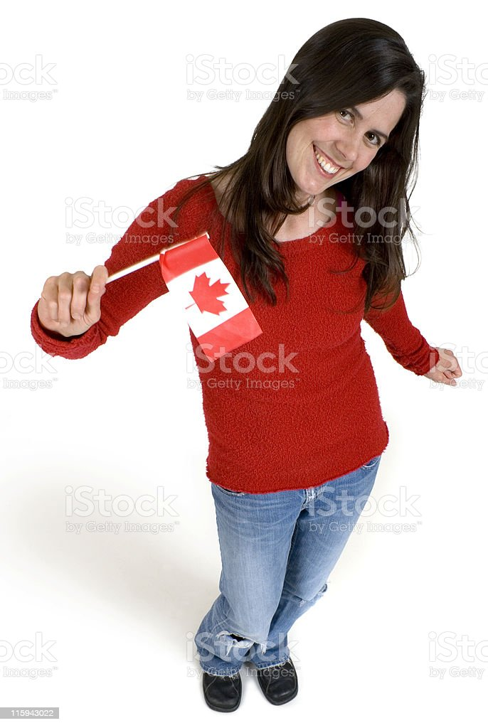 Flag-waving Canadian royalty-free stock photo