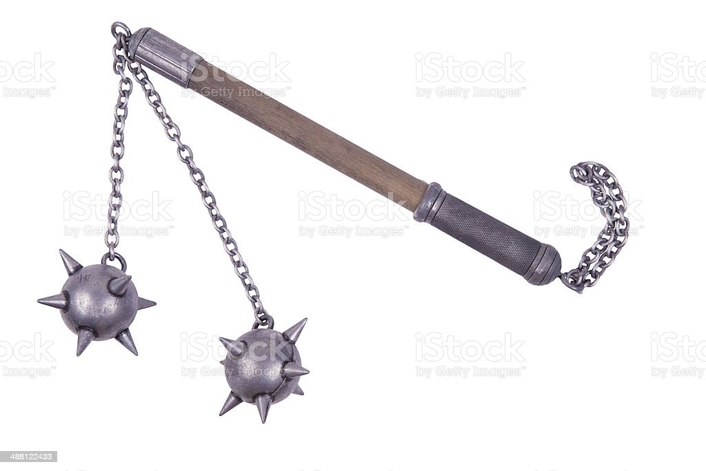 Flail with spiked balls stock photo