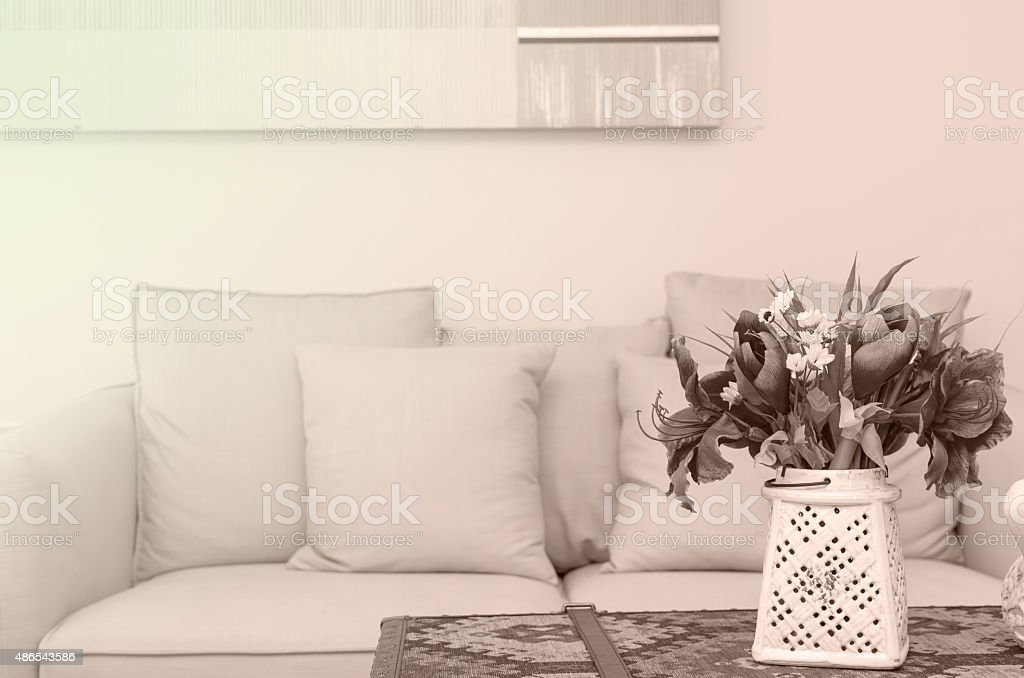 flake flower in Luxury Interior living room stock photo