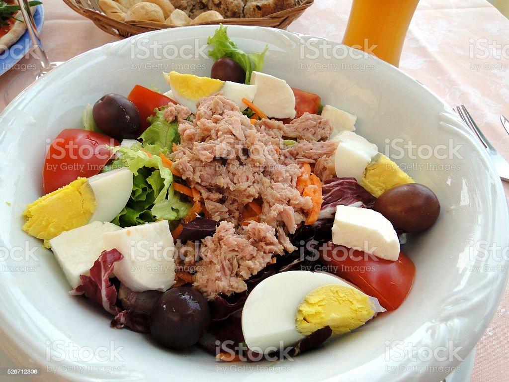 Flaked Salmon Egg and Mozzarella Salad stock photo
