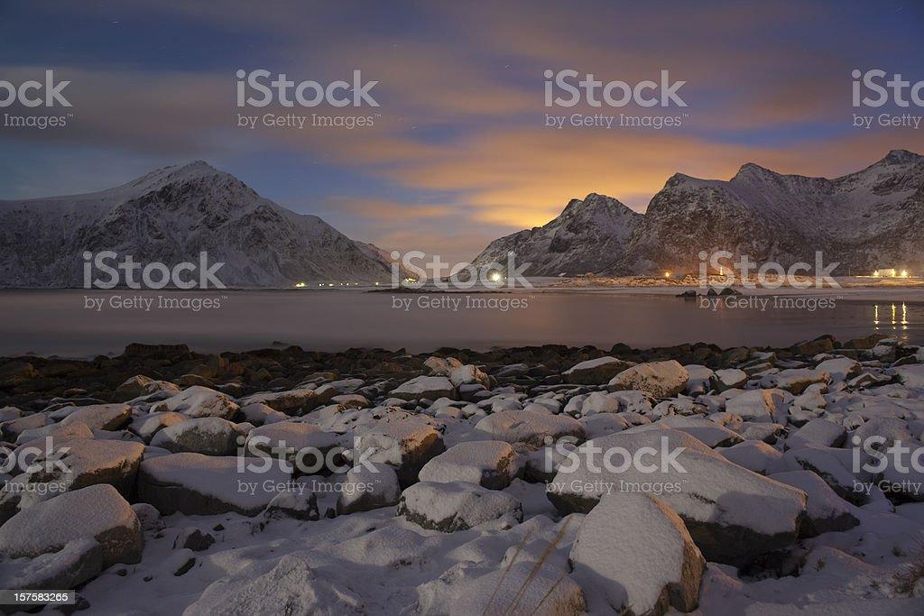 Flakstad Beach at night. stock photo