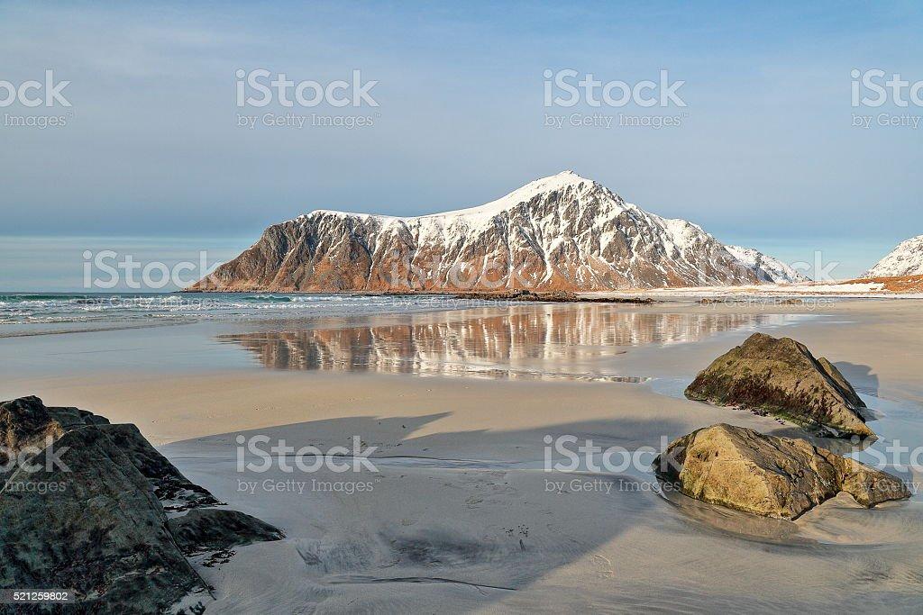 Flakstad Beach - Lofoten Islands stock photo