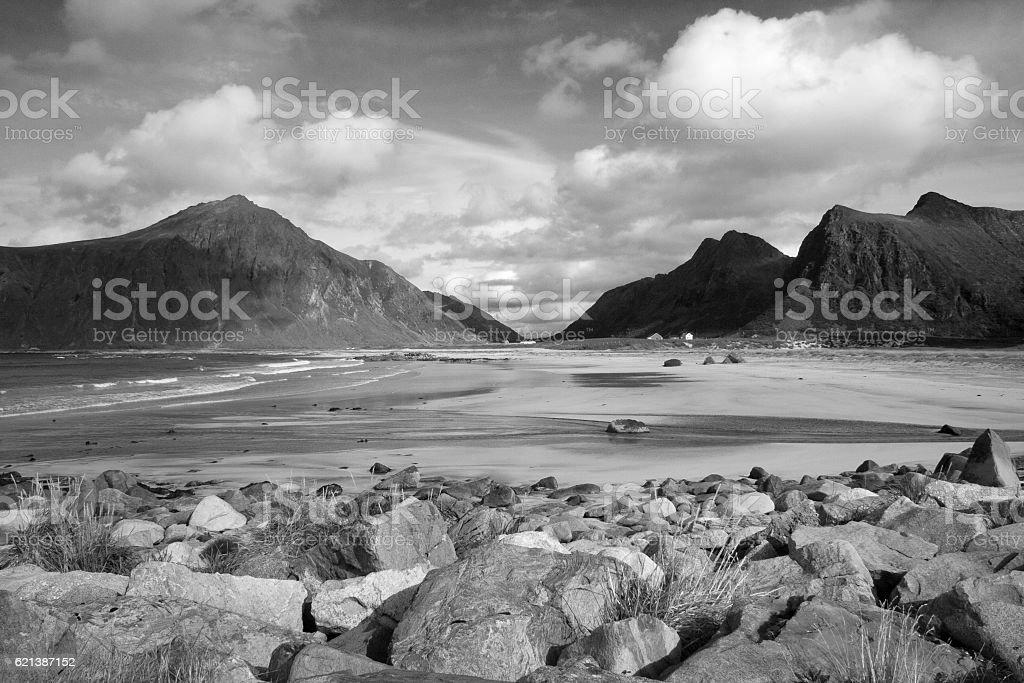 Flakstad Beach on the Lofoten Islands, Norway, Scandinavia stock photo