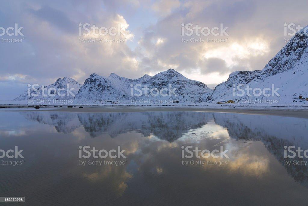 Flakstad Beach Sunrise Reflection royalty-free stock photo