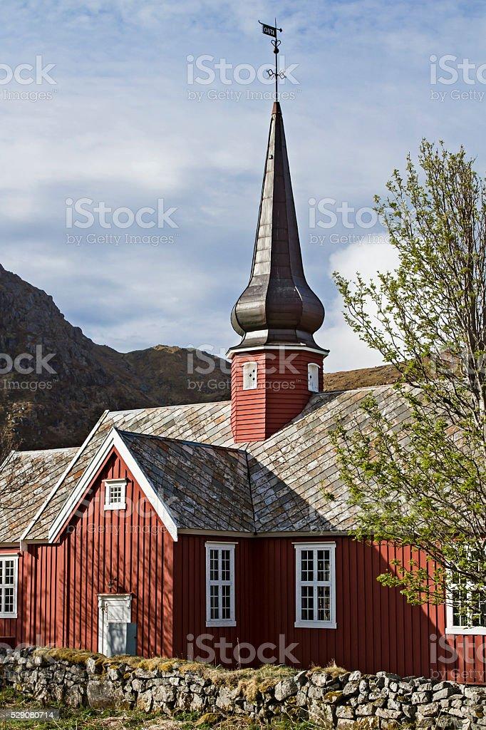 Flakstad Kirke stock photo