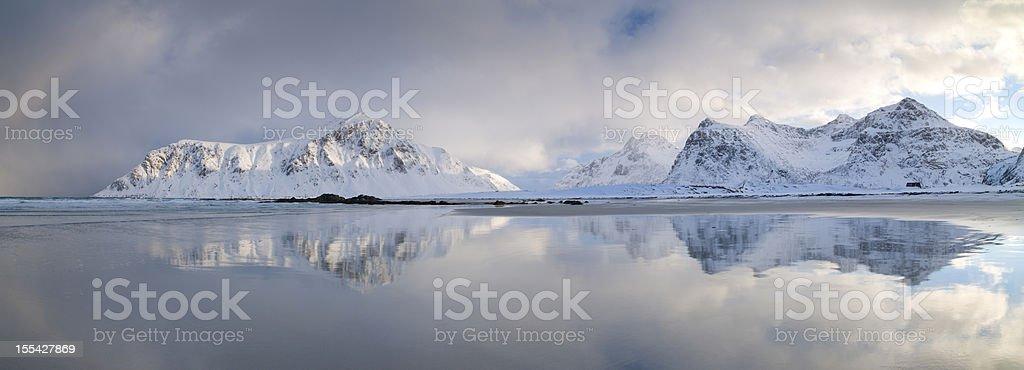 Flakstadoya Dawn Panoramic stock photo