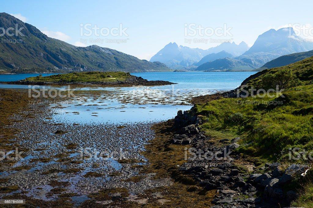 Flakstadoya island stock photo