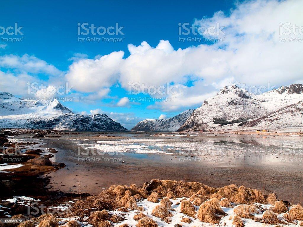 Flakstadpollen fjord. royalty-free stock photo