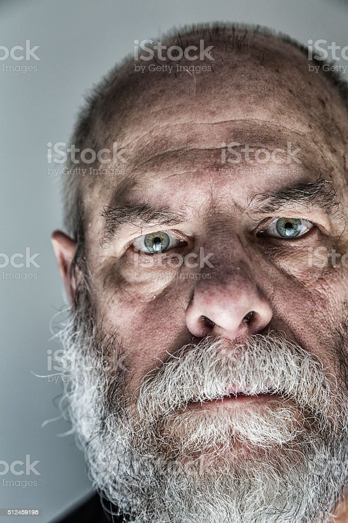Flaky Face Skin Senior Adult Man Ominous Staring Close-Up Portrait stock photo