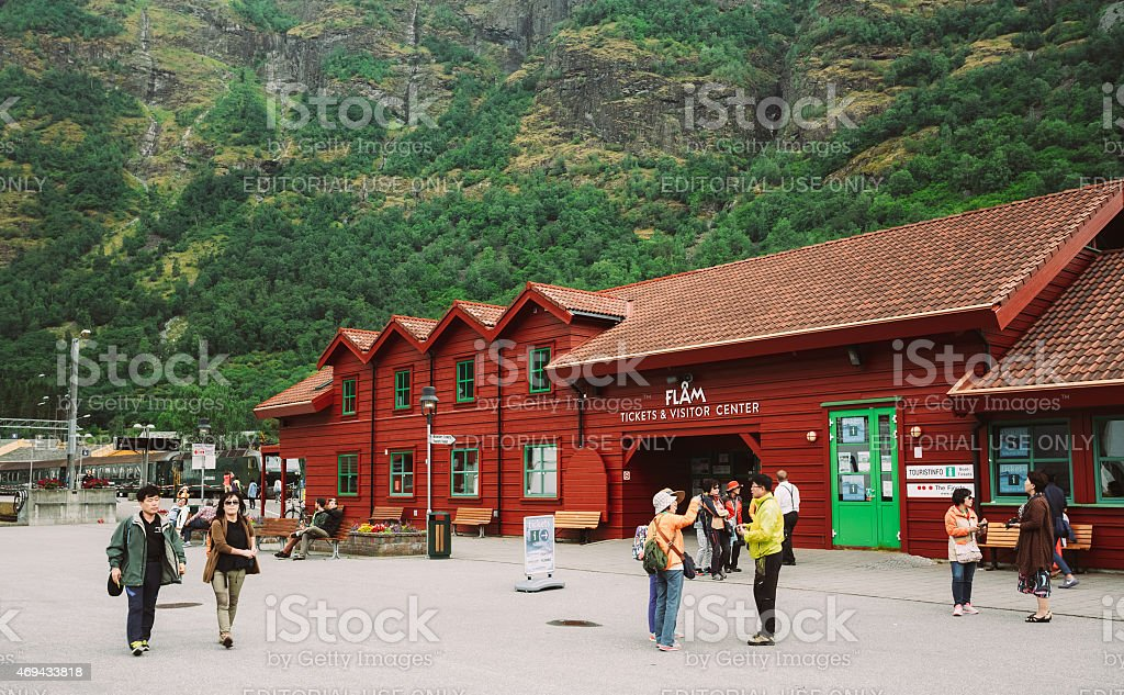 Flam Village In Norway. Wooden Guest House, Camping, Country Hou stock photo