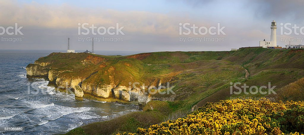 Flamborough Head and Lighthouse, Yorkshire, England stock photo
