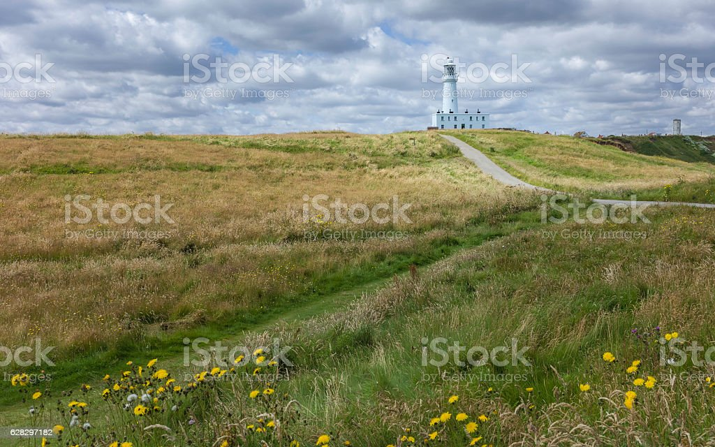 Flamborough lighthouse and environs in summer, Yorkshire, UK. stock photo
