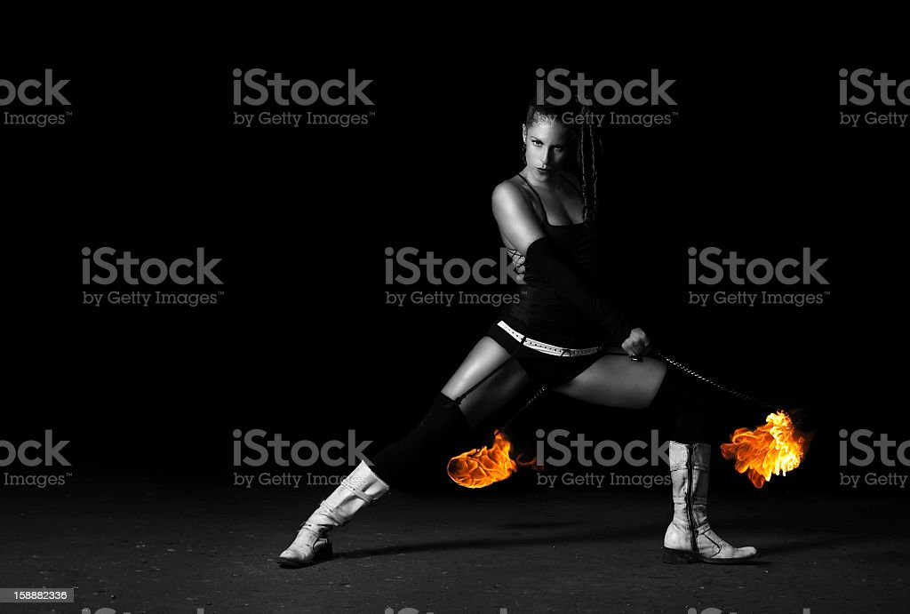 Flame and attractive girl stock photo