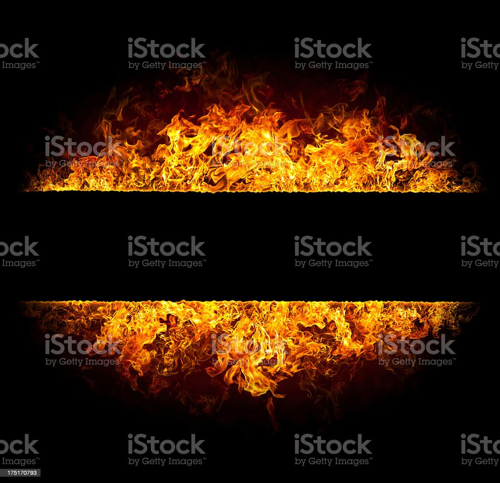 Flame banner of hot red fire stock photo