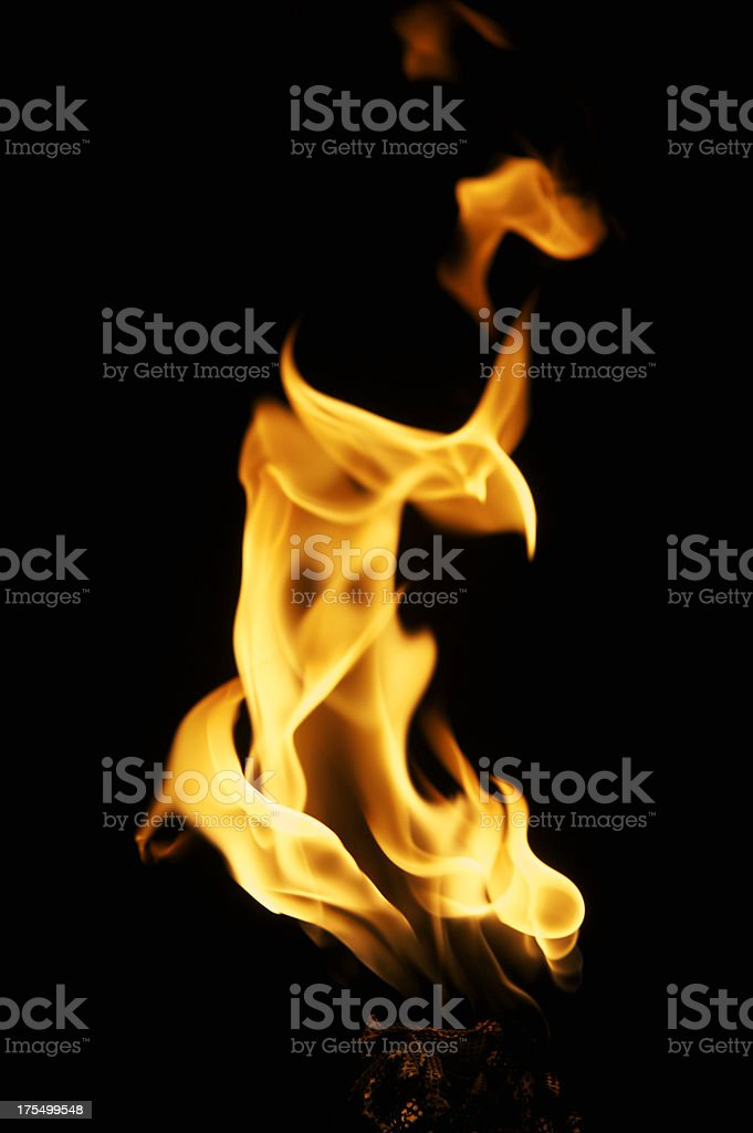 Flame Close Up on a Torch Black Background royalty-free stock photo