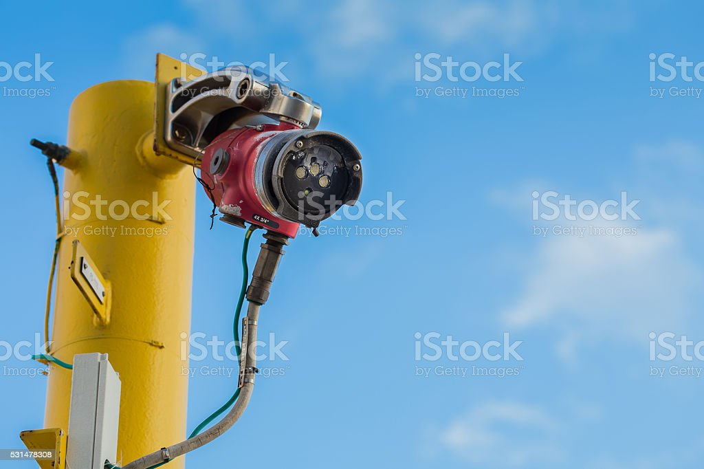 Flame detector for detect fire and oil and gas  platform stock photo