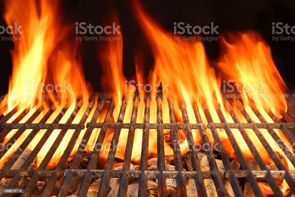 Flame Fire Empty Hot Barbecue Charcoal Grill With Glowing Coals stock photo