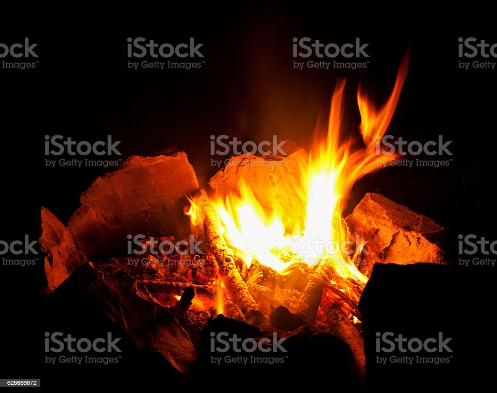 Flame fire on  black night background. stock photo
