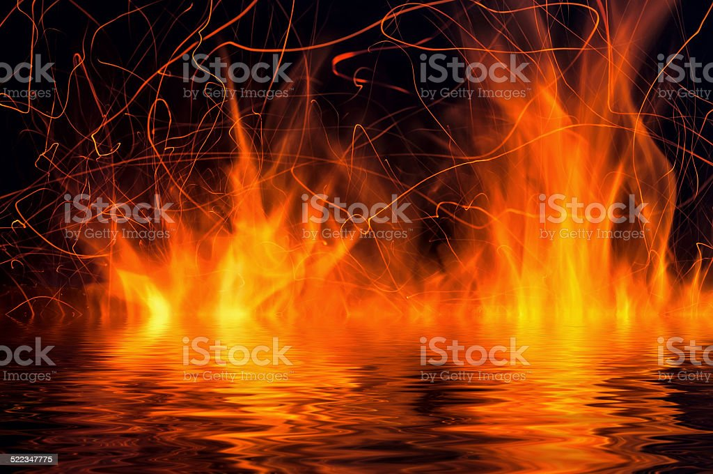 flame fire water reflection stock photo