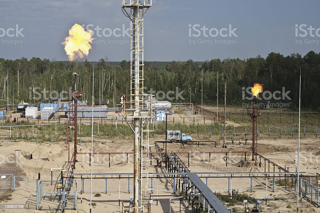 Flame from burning by-products of manufacture fuel. royalty-free stock photo