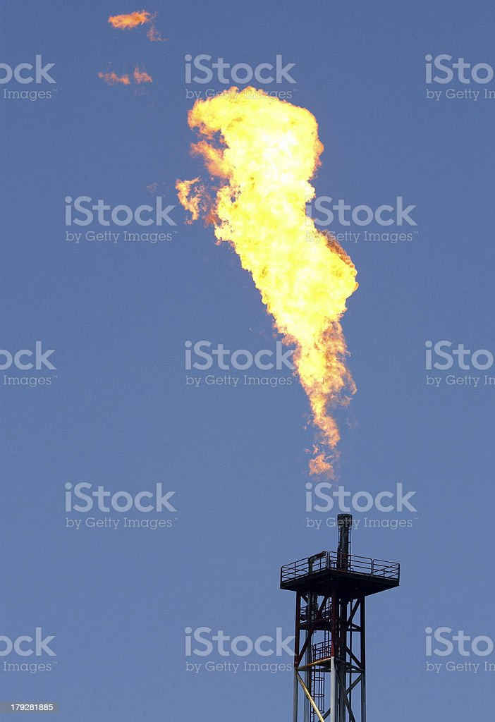 Flame From The Oil Rig stock photo