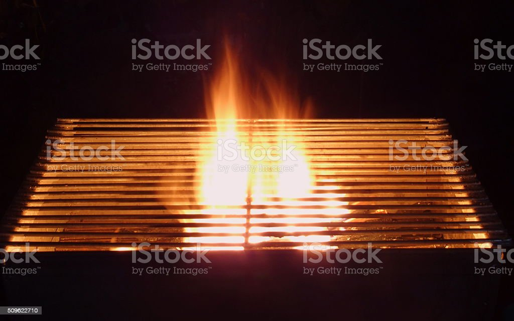 Flame grill background stock photo
