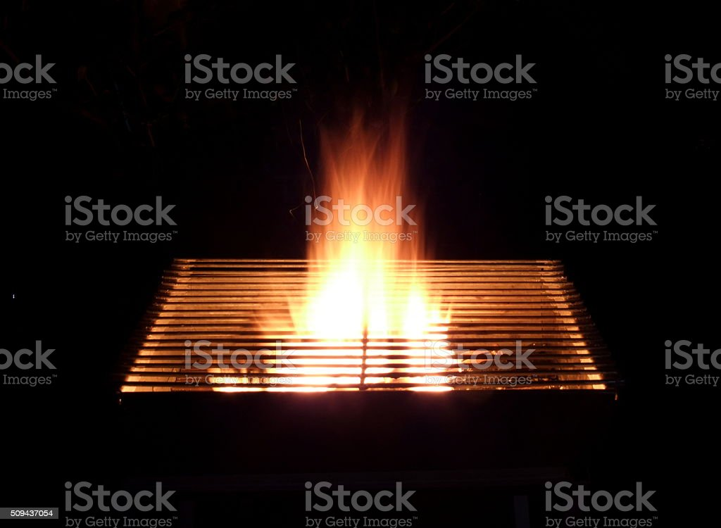 Flame grill black background stock photo