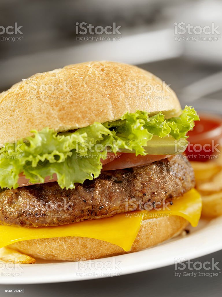 Flame Grilled Cheeseburger royalty-free stock photo