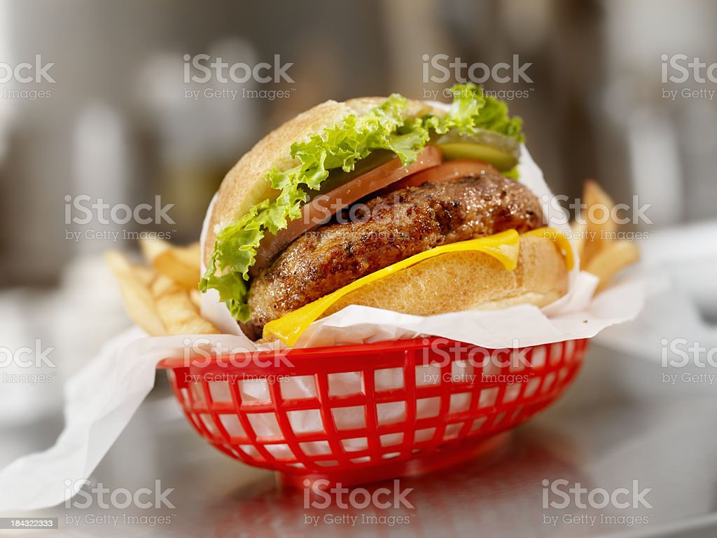 Flame Grilled Cheeseburger stock photo