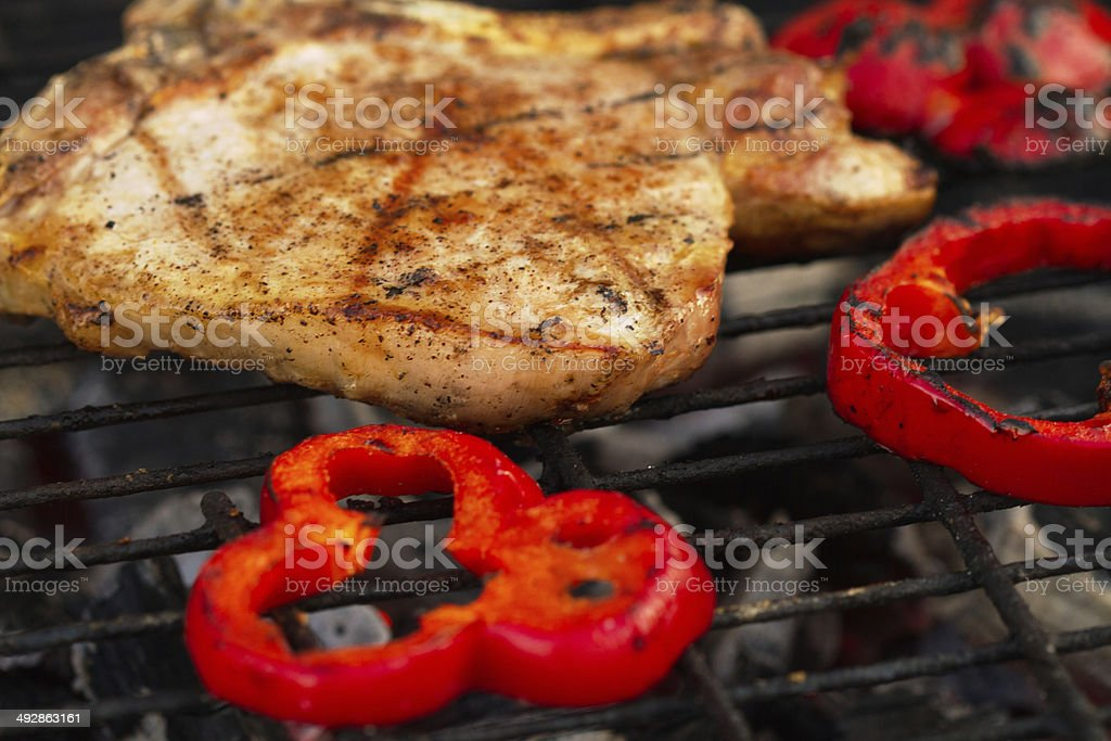 Flame grilled steak royalty-free stock photo