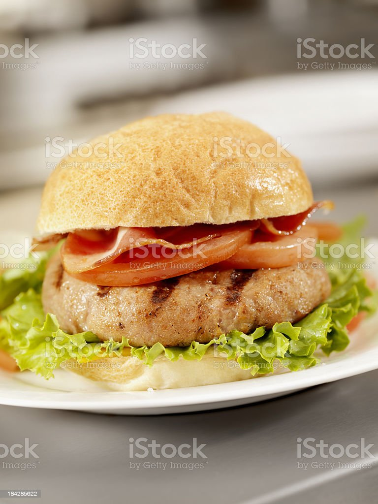 Flame Grilled Turkey Burger stock photo