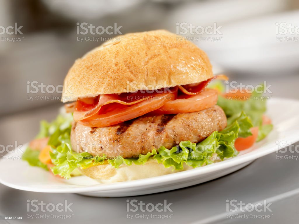 Flame Grilled Turkeyburger royalty-free stock photo