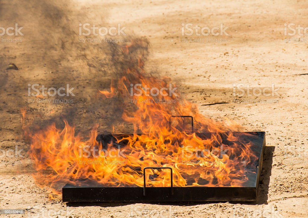 Flame in a pan with oil stock photo