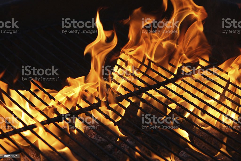 Flame on the barbecue stock photo