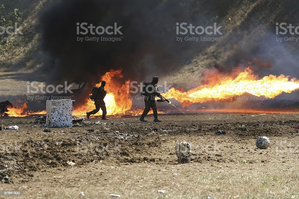 Flame Throwers stock photo