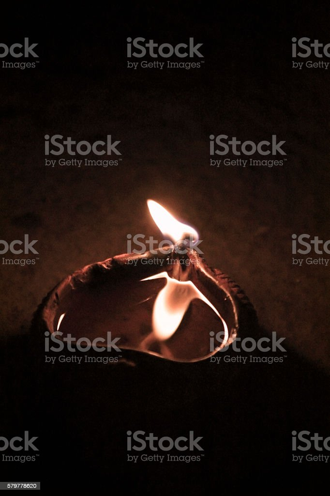 Flame, Traditional Diya, Maharashtra, India stock photo