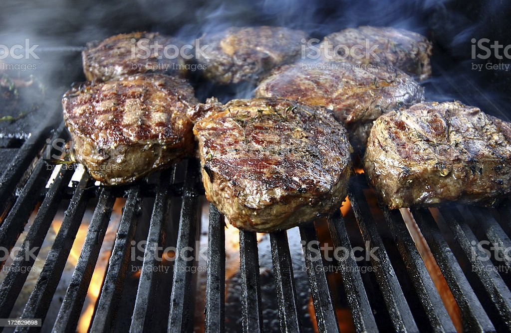 Flamed Steak stock photo
