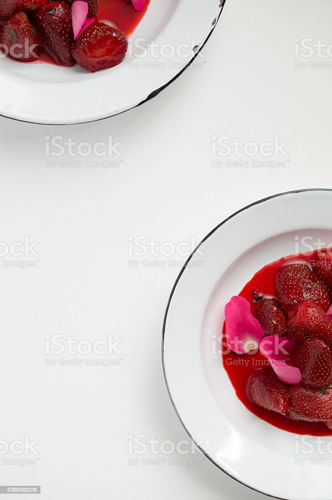 Flamed Strawberries stock photo
