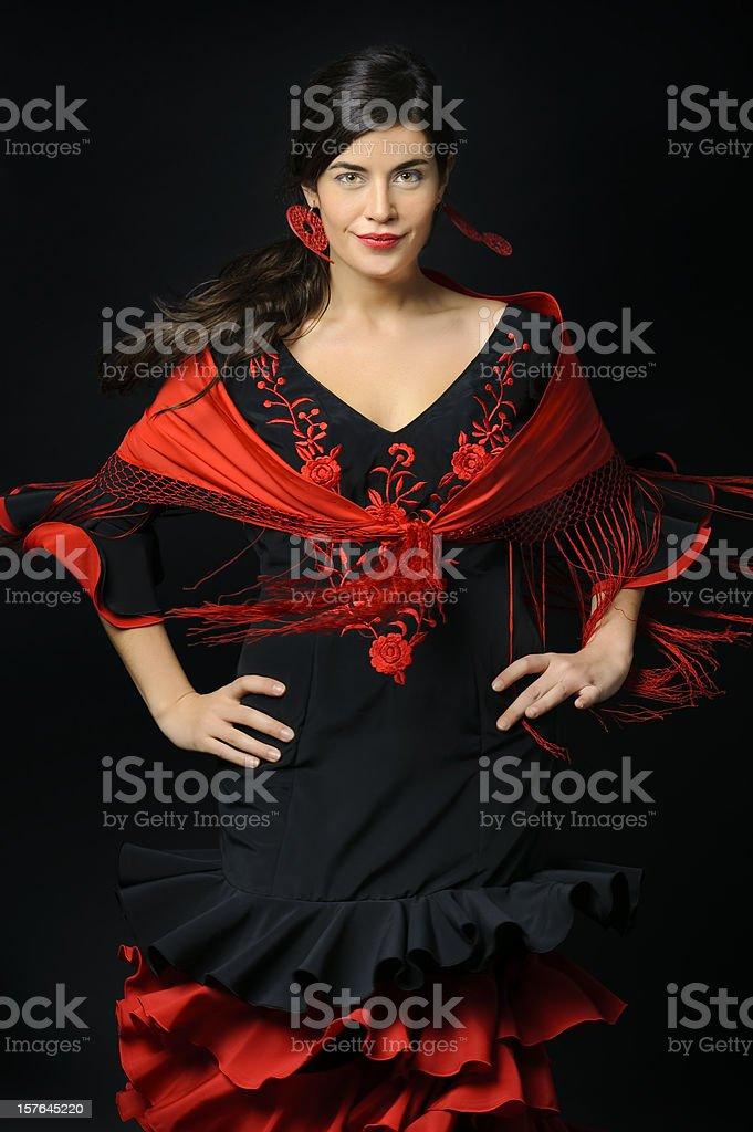 Flamenco dancer in movement royalty-free stock photo