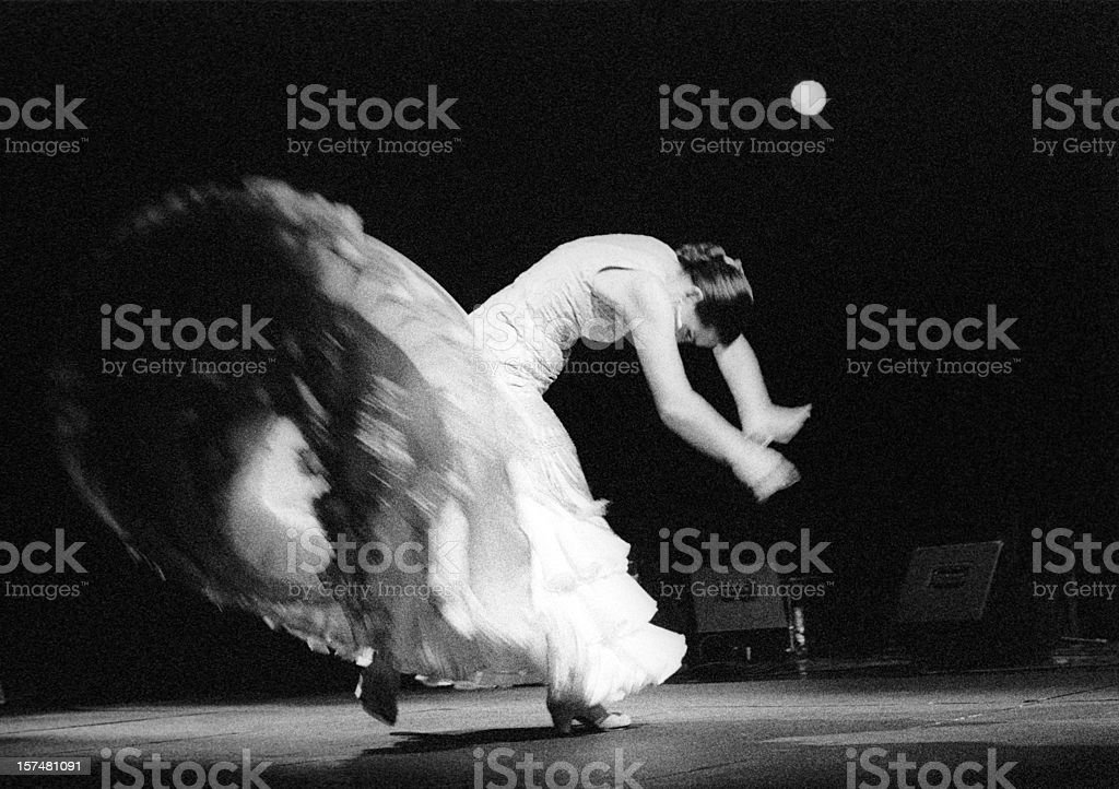 Flamenco dancer in white stock photo