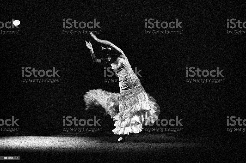 Flamenco dancer in white stock photo