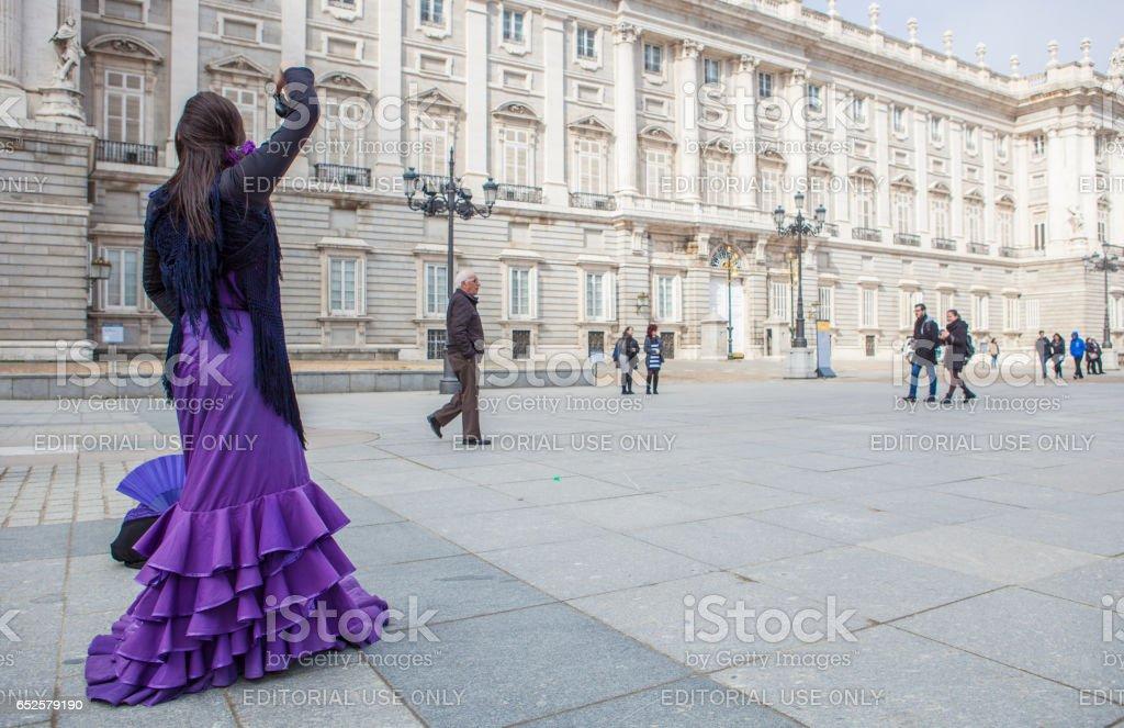 Flamenco dancer performing at Royal Palace, Madrid, Spain stock photo