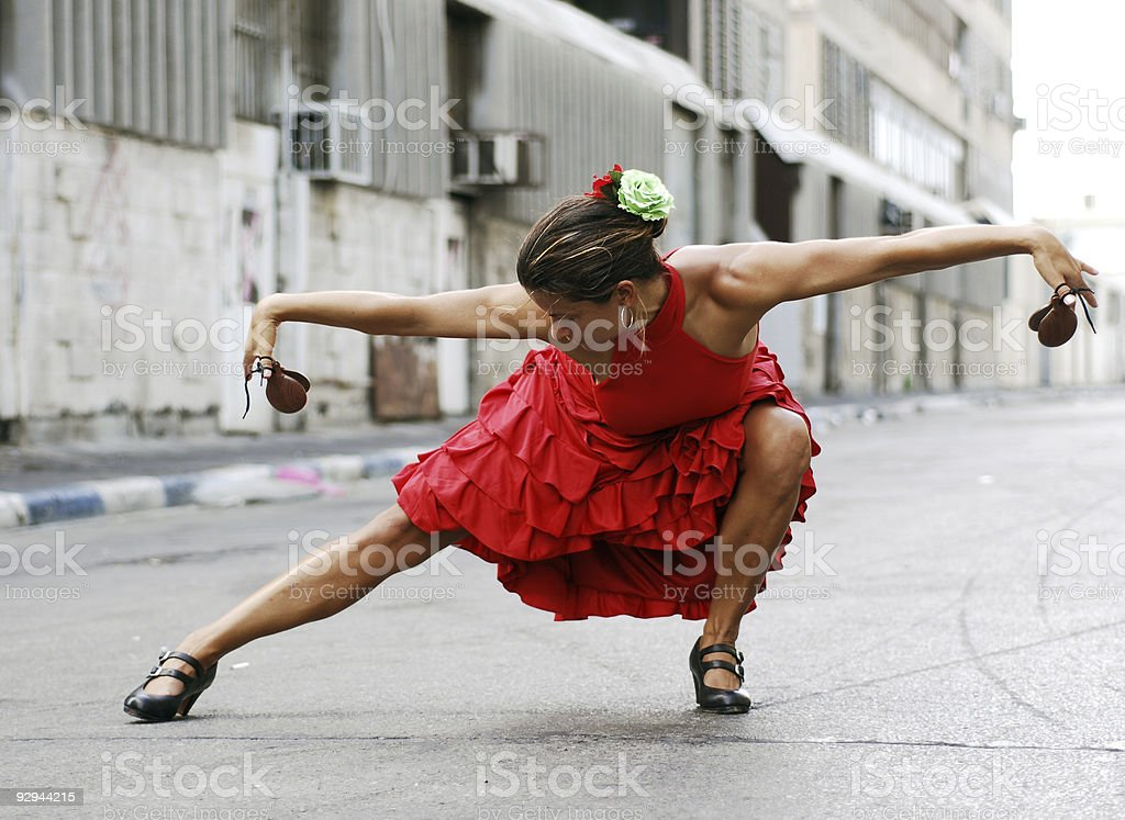 Flamenco dancer pose stock photo