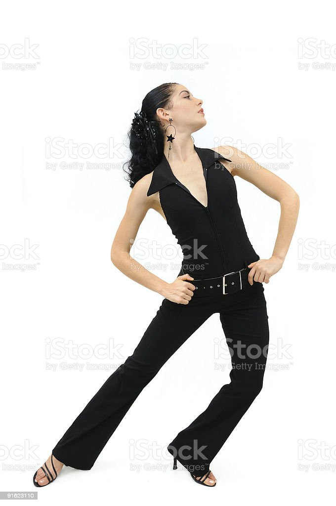 Flamenco dancer posing isolated stock photo