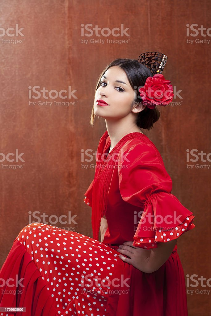 Flamenco dancer Spain woman gipsy with red rose stock photo