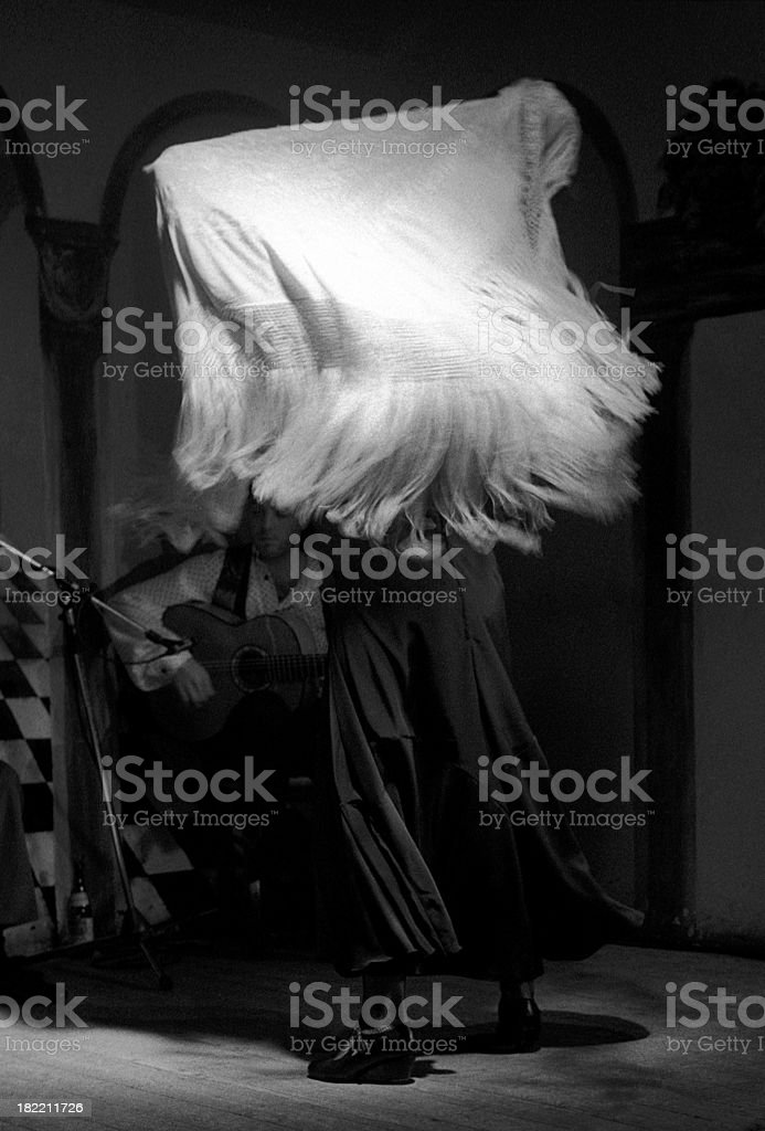Flamenco dancer with shawl and guitar stock photo