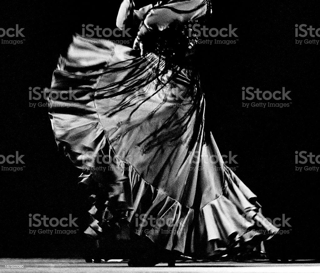 Flamenco dancer's skirt and shawl stock photo